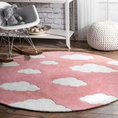 nuLOOM Hand Tufted Cloudy Sachiko Pink Color Kids Area Rug for sale online Kids Area Rugs, Childrens Rugs, Polyester Rugs, Pink Clouds, Round Rugs, Pink Rug, Room Inspiration, Design Projects, Bedroom Decor