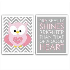 Personalized Pink and Gray Chevron OWL print SET baby girl decor girl wall art little girl nursery, little girl print. playroom art