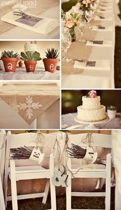French country style: lavender in Anthropologie mugs; cute cake; burlap runner with mason jar centerpieces