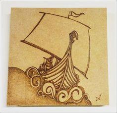 Drakkar - Barco Viking - Debora J. Tozze Artes - Pirografia