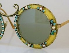 Rare Vintage Oversized Round Christian Dior Yellow Lime Jeweled Frames Sunglasses White Robin Egg Blue Milk Glass Aqua Teal Rhinestones 60s