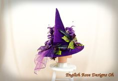 Green and Purple Witch Hat / Elegant Witch Hat / Witch Decor / Halloween Costume / Wicked Witch / Witch Costume / Witch Decor