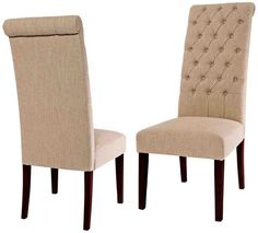 Set of 2 Tufted Tall Dining Chair Natural - Christopher Knight Home Cream Leather Dining Chairs, Tufted Dining Chairs, Fabric Dining Chairs, Dining Chair Set, Furniture Legs, Dining Room Furniture, Dining Rooms, Color Beige, Dark Beige