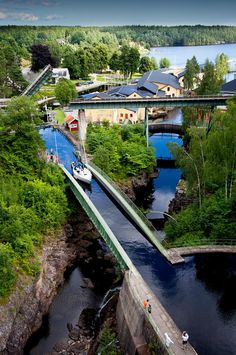 Dalsland Canal at Håverud Aqueduct / Sweden (by Tomas Jansson). It's a beautiful world Places Around The World, Oh The Places You'll Go, Places To Travel, Places To Visit, Around The Worlds, Sweden Stockholm, Voyage Suede, Beautiful World, Beautiful Places