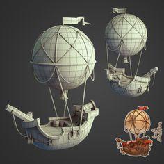 3d Model Character, Character Concept, Character Design, Prop Design, Game Design, Balloon Illustration, Illustration Art, Polygon Modeling, 3d Modeling
