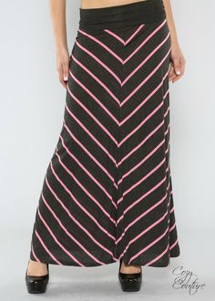 Gray and Pink Chevron Print Maxi Skirt #Cozy Couture Clothing