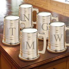Monogrammed  Set of 5 -  Gunmetal  Beer Mug