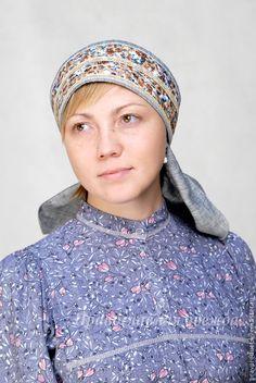 Купить Повойник из льна - традиционный русский женский головной убор - голубой, головной убор для женщин
