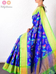 #Blue #Katan #Silk #Patola #Handwoven #Saree #HolyWeaves