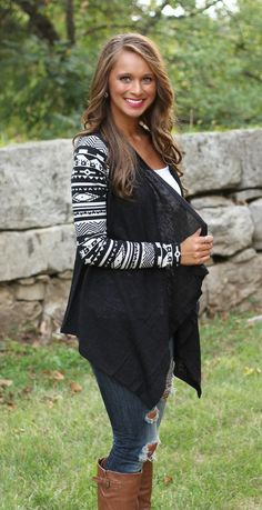 The Pink Lily Boutique - Black Aztec Sleeve Cardigan, $39.00 (http://www.thepinklilyboutique.com/black-aztec-sleeve-cardigan/)