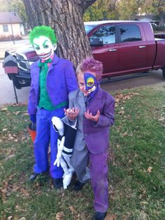 the joker and two face costumes - Joker Halloween Costume Kids