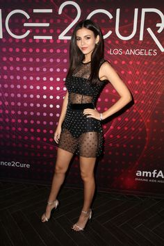 Victoria Justice Attends amfAR at Bardot in Hollywood Beautiful Celebrities, Beautiful Actresses, Victoria Justice Outfits, Vicky Justice, Victorious Justice, Hot Country Girls, Mode Chic, Great Legs, Hot Brunette