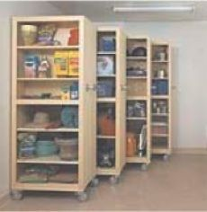 GARAGE (PDF) woodworking plans and information at WoodworkersWorkshop® Storage, Garage Organizer (PDF), woodworking,space savers,shel Food Storage Shelves, Diy Wood Shelves, Garage Shelving, Garage Shelf, Basement Storage, Craft Storage, Storage Ideas, Shelf Ideas, Tool Storage