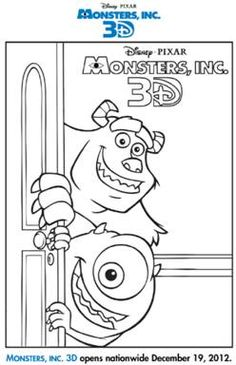 monsters inc 3d activity sheets - Pixar Coloring Pages Monsters