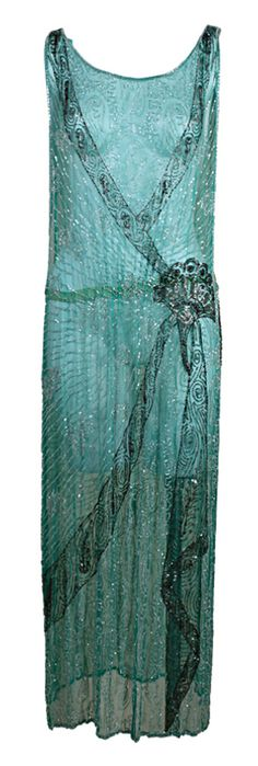 Love this ♥ 1920's Turquoise Silk Chiffon Beaded Flapper Dress Available from 1stDibs.com