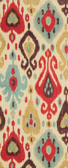 Red, blue and brown ikat fabric- Richloom Django Persia Fabric  $19.00 per yard