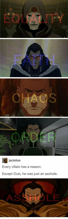 Avatar the last Airbender + The Legend of Korra villains 《《 he was an intitaled asshole, probably spelt that wrong lol》》 Avatar Aang, Avatar Airbender, Avatar The Last Airbender Funny, The Last Avatar, Avatar Funny, Team Avatar, Blue Exorcist, You Don't Know Jack, Atla Memes