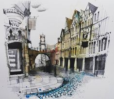 Fennelly Art (@ianfennelly) в Instagram: «Chester #eastgate #aquarell #art #painting #watercolor #watercolour #sketch #paint #drawing #sketching #sketchbook #travelbook #archisketchery #sketchaday #sketchwalker #sketchcollector #traveldiary #topcreator #usk #urbansketch #urbansketchers #скетчбук #скетч #скетчинг #pleinair #aquarelle #watercolorsketch #usk #architecture #painting #illustration Watercolor Art Lessons, Watercolor Sketch, Watercolor Paintings, Watercolor Artists, City Sketch, Sketch A Day, City Drawing, Paint Photography, English House
