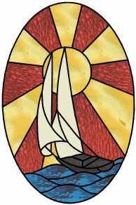 sunset sailboat stained glass window