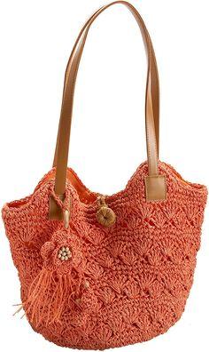 Magid Solid Paper Straw Shell Bucket Bag, Orange, one size: Handbags: Amazon.com