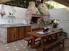 Resultado de imagem para area de lazer pequena com churrasqueira mesa