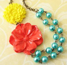Flower Necklace Statement Jewelry Coral Necklace Teal by zafirenia, $34.00