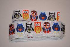 "Owl Ribbon, Superheroes Owls Ribbon, Hair Bow Ribbon, Craft Ribbon, 5 yards, 7/8"" wide, Grosgrain Ribbon by LusterClusterHairbow on Etsy"