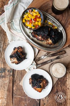 Grilled Stout Jamaican Jerk Chicken | I made this by blackening the skin on a grill pan and finishing the cooking time in the oven since i don't have a grill. It was a little smoky to make indoors but it tasted great.