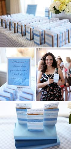 A library themed shower with escort cards that look like library cards tucked inside tiny books