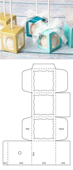 cake pop box template box pop up Caja para cake pop Diy Gift Box, Diy Box, Cake Pop Boxes, Cake Pops, Box Cake, Diy Crafts For Gifts, Paper Crafts, Paper Box Template, Gift Box Templates