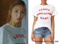 Yoon So Ah (Shin Se Kyung 신세경) wears a white t-shirt that says 'Venice Beach Baby' in red letters in Episode 14 of Bride of the Water God. It is the Etre Cecile Venice Beach Baby Tee. Get it HERE on sale for $57....