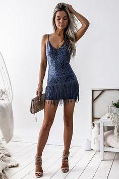 Shimmy Dress - Steel Blue