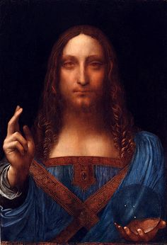 Salvator Mundi. Leonardo da Vinci (1452-1519) Saw this at Da Vinci exhibition at National Gallery London 2012. Beautiful but now sold to unknown private collector in New York- another masterpiece stolen from the world!