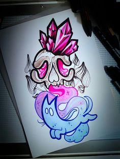 #drug #drugs #cat #skull #tattoo #design