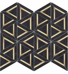 Inlay Brass Gold Triangles Black Tile for kitchen backsplash and bathroom walls. Calacatta Marble, Marble Mosaic, Glass Mosaic Tiles, Carrara, Shower Accent Tile, Black Tiles, Black Marble, Elements Of Design, Messing