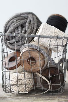 zinc wire basket for oversized yarn, wool, & twine spool storage. Wire Baskets, Book Crafts, Craft Books, Shabby Vintage, Shabby Chic, Scrapbooking, Crafty, Decoration, Handmade