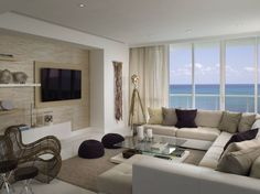 Modern living room with an amazing sea view