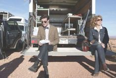 Alex Kingston (River Song) and Matt Smith (The Eleventh Doctor) in the back door of a transport truck in the Utah desert, during the filming of The Impossible Astronaut, 2011 Doctor Who Tv, First Doctor, Eleventh Doctor, Dr Who, Alex Kingston, The Eleven, Bbc One, Matt Smith, Scene Photo