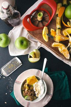 A favorite vegetarian healthy breakfast! Chai-Spiced Citrus & Apple Breakfast Crumble - love using fall apples with this!