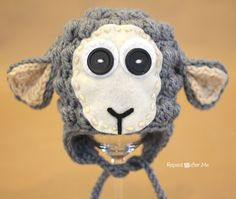 Repeat Crafter Me: Crochet Lamb Hat Pattern - free pattern!