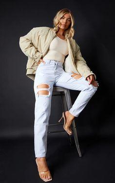 Plt Light Bleach Wash Ripped Mom Jeans | PrettyLittleThing