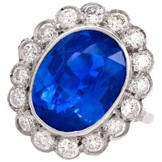 1950s GIA Certified 8.29 Carat Blue Sapphire Diamond Platinum Ring | From a unique collection of vintage engagement rings at https://www.1stdibs.com/jewelry/rings/engagement-rings/