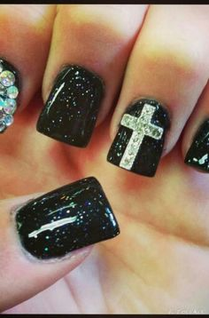 Here is a cross  nail design