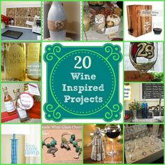20 Wine Inspired Projects - Having a bottle or two of wine to celebrate Valentine's Day? I like to drink wine, but my favorite thing to do is make things with t… Wine Craft, Wine Bottle Crafts, Bottle Art, Wine Bottles, Wine Corks, Cork Crafts, Crafts To Do, Diy Crafts, Recycle Crafts
