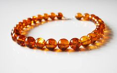 Exclusive genuine Baltic amber necklace Cognac amber necklace