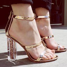 Newest Women Transparent Sandals Square Heel Pumps Roman Gladiator High Heels Summer Bling Stilettos ladies Shoes High Heel Pumps, Stilettos, Pumps Heels, Stiletto Heels, Sexy Heels, Platform Pumps, Dr Shoes, Cute Shoes, Flat Shoes