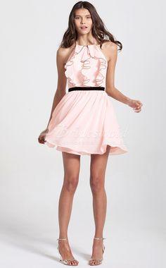 Princess Halter Chiffon Short/Mini Pink Bridesmaid Dresses(BD086)