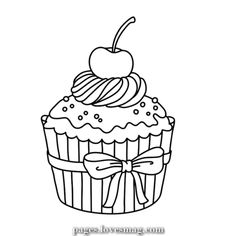 Cupcakes, sorvetes, bolos e doces (Cupcakes, ice creams, cakes and sweets) Cupcake Coloring Pages, Food Coloring Pages, Coloring Pages For Boys, Printable Coloring Pages, Coloring Sheets, Coloring Books, Cupcake Drawing, Cupcake Art, Shopkins
