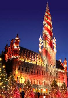 Brussels Town Hall, Belgium--all decked out for Christmas.