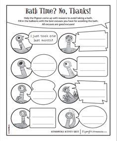 FREE Mo Willems printables: http://www.pigeonpresents.com/teachersguides/pigeon-needs-bath-activity-kit.pdf